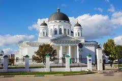 Temple in the style of late classicism, Nizhny Novgorod. Nizhny Novgorod, Russia-Oct 08, 2017: Spassky old fair Cathedral, temple in the style of late classicism Royalty Free Stock Photos