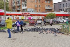Nizhny Novgorod, Russia. - October 06.2017. Children teens feed a large flock of pigeons on the prospectus of the 70th anniversary Stock Images