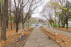 Nizhny Novgorod russia - Oktober 13 2016 Autumn Landscape i Alexander Garden Arkivfoto