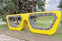 Nizhny Novgorod russia - Oktober 13 2016 Konstobjektexponeringsglas i Alexander Garden Royaltyfri Foto