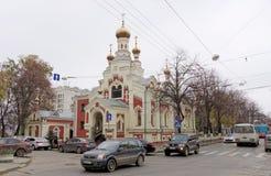 Nizhny Novgorod russia - Oktober 13 2016 Tempel av symbolen av modern av guden allra den bedrövade glädjen på Nesterova gata 2 Arkivbilder