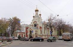 Nizhny Novgorod russia - Oktober 13 2016 Tempel av symbolen av modern av guden allra den bedrövade glädjen på Nesterova gata 2 Royaltyfria Bilder