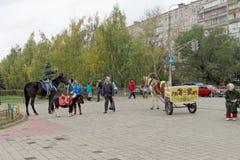 nizhny novgorod Russia - Październik 06 2017 Rozrywka dla dzieci sposobność jechać na koniku lub rysującym carr Fotografia Royalty Free