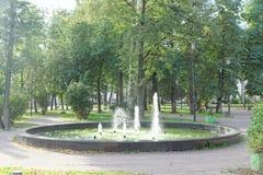 Nizhny Novgorod, Russia. - September 26.2017. Acting fountain in the park Black pond. Stock Photography