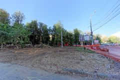 Nizhny Novgorod, Russia. - September 21.2018. Measures of municipal services of the city on cutting and uprooting of old. Poplar trees in the Square of 1905 royalty free stock image