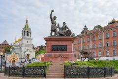 Nizhny Novgorod, Russia - September 4, 2018: Monument to Minin and Pozharsky on the national Unity square royalty free stock photos