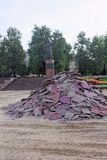 Nizhny Novgorod, Russia. - September 26.2017. A pile of removed brown paving slabs near the monument to Kuzma Minin in the area of. Minin and Pozharsky Royalty Free Stock Photos