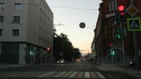 Varvarskaya Street after renovation from the frontal window of a car