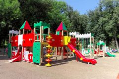nizhny novgorod Russia - Sierpień 01 2016 Dziecka boiska gemowy kompleks w Kulibina parku Fotografia Royalty Free