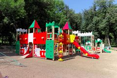 nizhny novgorod Russia - Sierpień 01 2016 Dziecka boiska gemowy kompleks w Kulibina parku Obrazy Stock