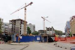 nizhny novgorod Russia - Wrzesień 26 2017 Budowa mieszkaniowy kompleksu dom na wolności lokalizować Zdjęcia Royalty Free