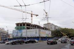 nizhny novgorod Russia - Wrzesień 26 2017 Budowa mieszkaniowy kompleksu dom na wolności lokalizować Zdjęcie Royalty Free