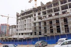nizhny novgorod Russia - Wrzesień 26 2017 Budowa mieszkaniowy kompleksu dom na wolności lokalizować Obrazy Stock