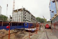 nizhny novgorod Russia - Wrzesień 06 2017 Budowa mieszkaniowy kompleksu dom na wolności lokalizować Zdjęcia Royalty Free