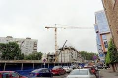 nizhny novgorod Russia - Wrzesień 06 2017 Budowa mieszkaniowy kompleksu dom na wolności lokalizować Zdjęcia Stock