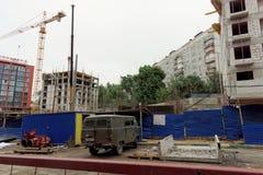nizhny novgorod Russia - Wrzesień 06 2017 Budowa mieszkaniowy kompleksu dom na wolności lokalizować Obraz Royalty Free