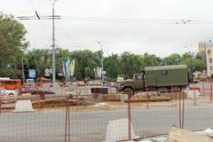 nizhny novgorod Russia - Wrzesień 06 2017 Budowa mieszkaniowy kompleksu dom na wolności lokalizować Zdjęcie Stock