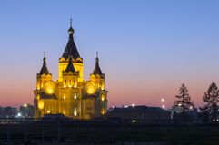 Alexander - Nevsky church.Cathedral on the Spit of the Oka and Volga rivers. Evening photo with illuminated facade. stock photo