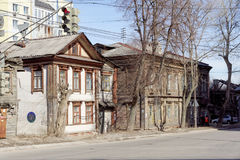 Nizhny Novgorod, Russie - 10 avril 2017 La vieille maison en bois sur Malaya Yamskaya 39 Image stock