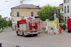Nizhny Novgorod, Russie - 15 juin 2016 Beaucoup de voitures du ministère des situations d'urgence sont arrivées à l'appel Photos stock