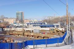 Nizhny Novgorod, Russie - 14 mars 2017 Construction de la place de Lénine de station de métro Photos libres de droits