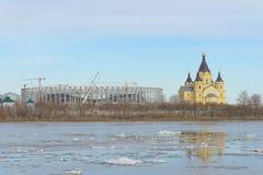 Nizhny Novgorod, Russie - 24 mars 2017 Construction du stade dans Nijni-Novgorod à la coupe du monde de la FIFA 2018 Photo stock