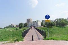 Nizhny Novgorod, Russland - 28. Juli 2016 Steg von der Straße Zalomova nach die Ufergegend Fedorovsky Stockfoto