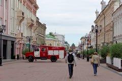 Nizhny Novgorod, Russland - 15. Juni 2016 Viele Autos des Ministeriums der Notsituationen kamen zu dem Anruf Stockbild
