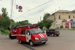 Nizhny Novgorod, Russland - 15. Juni 2016 Viele Autos des Ministeriums der Notsituationen kamen zu dem Anruf Lizenzfreie Stockfotografie