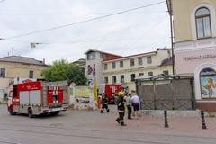 Nizhny Novgorod, Russland - 15. Juni 2016 Viele Autos des Ministeriums der Notsituationen kamen zu dem Anruf Lizenzfreies Stockfoto