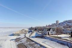 Nizhny Novgorod, Russland - 14. März 2017 Abwasserpumpwerk der Organisation Vodokanal auf dem Straße Nizhne-Volzhskayaemb Stockfotos