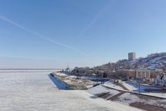 Nizhny Novgorod, Russland - 14. März 2017 Abwasserpumpwerk der Organisation Vodokanal auf dem Straße Nizhne-Volzhskayaemb Lizenzfreies Stockbild