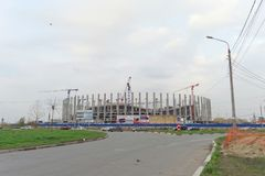 Nizhny Novgorod, Russland - 4. Oktober 2016 Bau des Stadions in Nischni Nowgorod zur Fußball-Weltmeisterschaft 2018 Stockfotografie