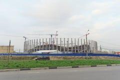 Nizhny Novgorod, Russland - 4. Oktober 2016 Bau des Stadions in Nischni Nowgorod zur Fußball-Weltmeisterschaft 2018 Lizenzfreies Stockbild