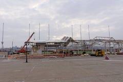 Nizhny Novgorod, Russland - 27. Oktober 2017 Die Nischni Nowgorod Messe war die Zerstörung von zwei vorübergehenden Pavillons, di Lizenzfreies Stockbild