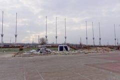 Nizhny Novgorod, Russland - 27. Oktober 2017 Die Nischni Nowgorod Messe war die Zerstörung von zwei vorübergehenden Pavillons, di Stockbilder