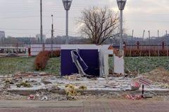Nizhny Novgorod, Russland - 27. Oktober 2017 Die Nischni Nowgorod Messe war die Zerstörung von zwei vorübergehenden Pavillons, di Lizenzfreies Stockfoto
