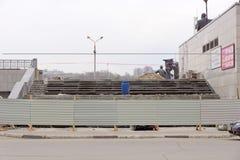 Nizhny Novgorod, Russland - 26. Oktober 2017 Reparatur des Treppenhauses von Lenin-Quadrat zu Sovnarkomovskaya-Straße Lizenzfreie Stockfotos