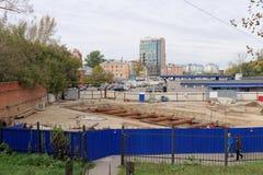 Nizhny Novgorod, Russland - 30. September 2016 Bau des Metrostation Lenin-Quadrats Stockbild