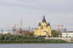 Nizhny Novgorod, Russland - 30. September 2016 Bau des Stadions in Nischni Nowgorod zur Fußball-Weltmeisterschaft 2018 Lizenzfreies Stockbild