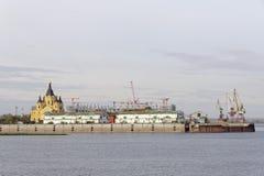 Nizhny Novgorod, Russland - 30. September 2016 Bau des Stadions in Nischni Nowgorod zur Fußball-Weltmeisterschaft 2018 Stockbild