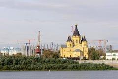 Nizhny Novgorod, Russland - 30. September 2016 Bau des Stadions in Nischni Nowgorod zur Fußball-Weltmeisterschaft 2018 Lizenzfreie Stockbilder