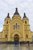Nizhny Novgorod Ryssland - 03 11 2015 domkyrka Arkivfoto