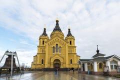 Nizhny Novgorod Ryssland - 03 11 2015 domkyrka Royaltyfri Bild