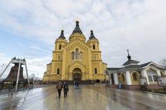 Nizhny Novgorod Ryssland - 03 11 2015 domkyrka Arkivbild