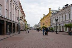 Nizhny Novgorod Ryssland - September 4, 2018: Bolshaya Pokrovskaya gata fotografering för bildbyråer