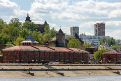 Nizhny Novgorod in the summer. View of the city from the Volga River. Nizhny Novgorod. View of the Nizhne-Volzhskaya Embankment and stone Kremlin from the Volga Royalty Free Stock Image