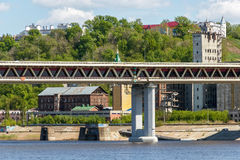 Nizhny Novgorod. View of Chernigov Street from under the Metro Bridge. Embankment of the Oka River near Metro Bridge on Chernigov Street in Nizhny Novgorod Royalty Free Stock Photos