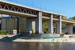 Nizhny Novgorod. View of the Metro Bridge and old elevator from the Oka River Stock Photos
