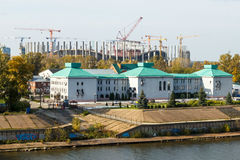 Nizhny Novgorod. View of the stadium under construction. Nizhny Novgorod. Construction of stadium to the FIFA World Cup Stock Photography